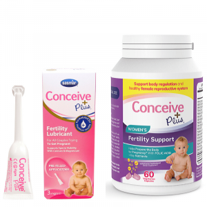 Fertility lubricant and fertility supplement vitamins for women trying to get pregnant